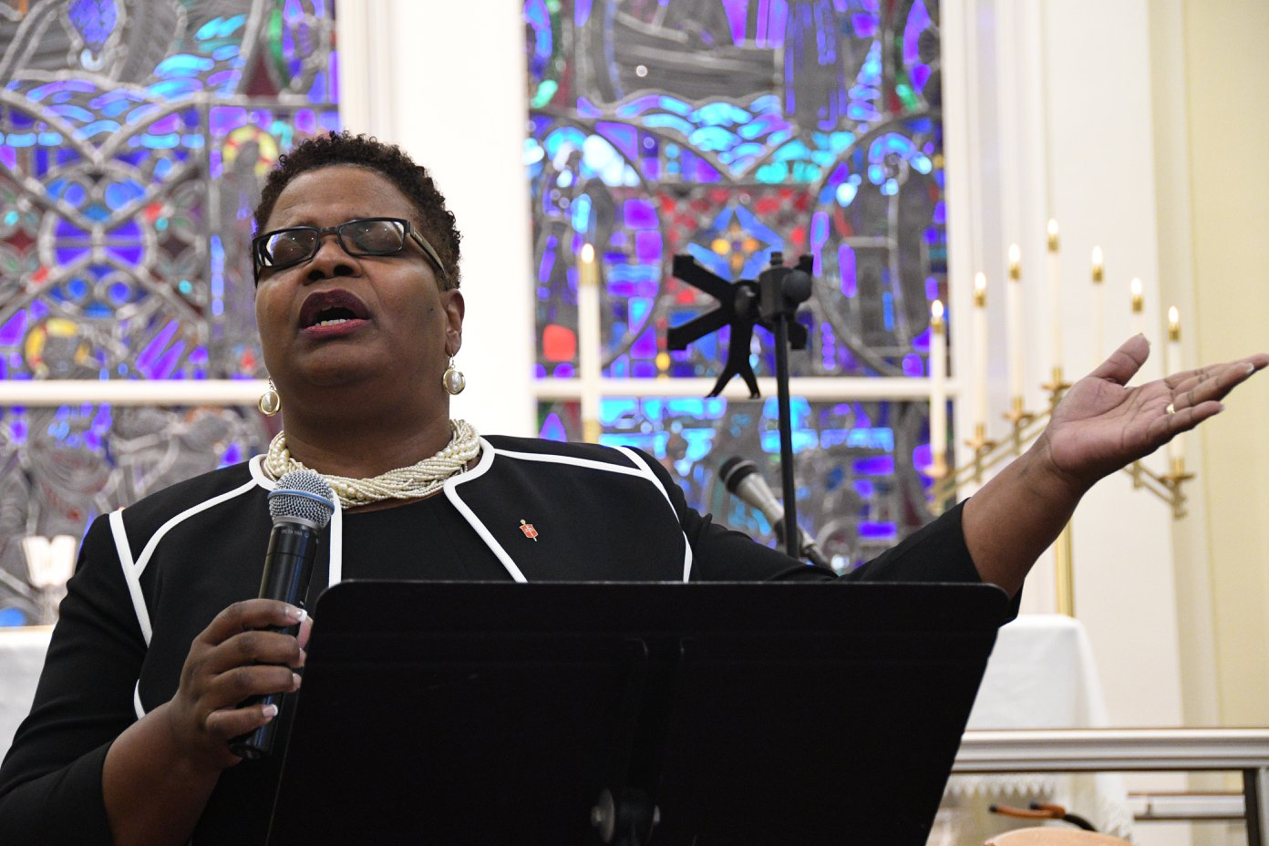 Bishop LaTrelle Easterling offers a prayer during the Community Vigil