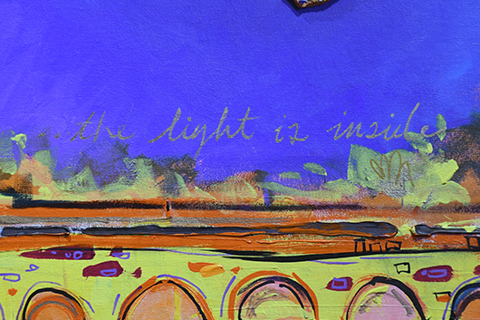 "a part of a mural that reads ""the light is inside"""
