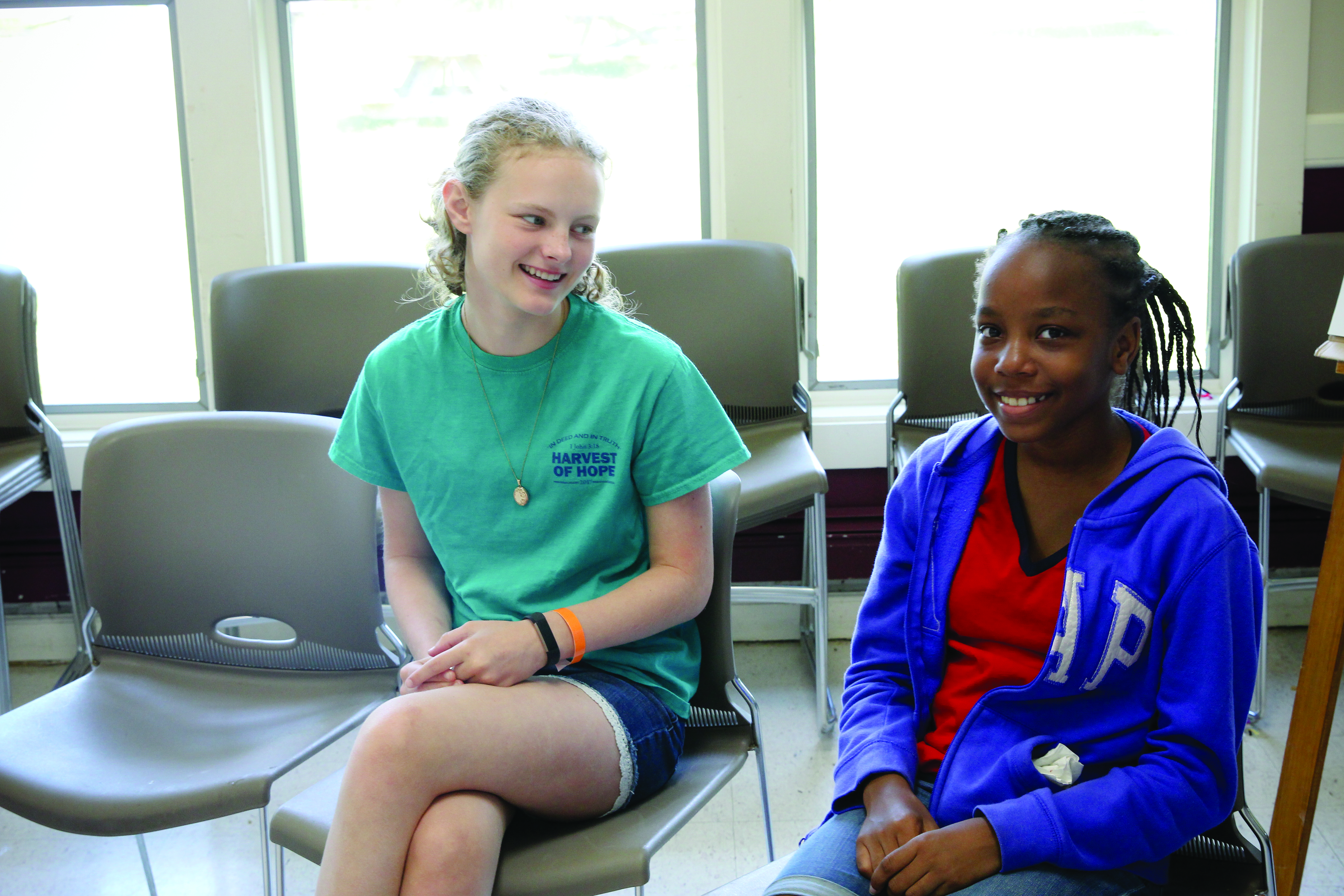 Nora Meeks, left, and Kennedi Jones were two of the campers who learned about leadership at West River Camp this summer. The camp featured guest speakers, including Bishop LaTrelle Easterling, the BWC's first female bishop.
